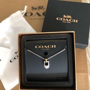 "COACH Pave Necklace Crystal ""C"" Silver w Giftbox"